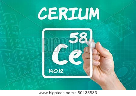 Hand drawing the symbol for the chemical element cerium