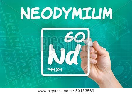 Hand drawing the symbol for the chemical element neodymium