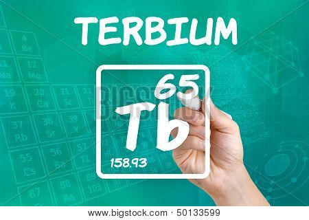 Hand drawing the symbol for the chemical element terbium