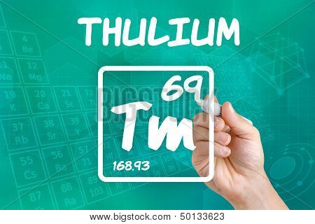 Hand drawing the symbol for the chemical element thulium