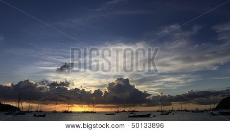 Sunset in the Anses d'Arlet, Martinique island