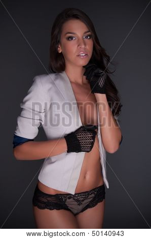 Beautiful Lady With White Jacket And Knicker Lingerie