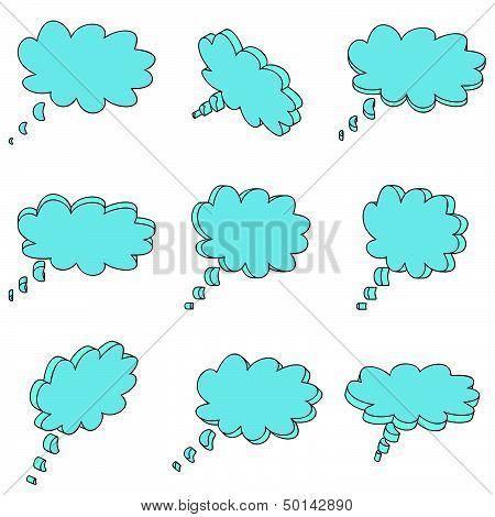 Nine 3D Blue Clouds