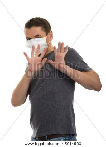 Scared Man With Protective Face Mask