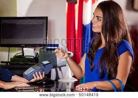 Paying at a cash register