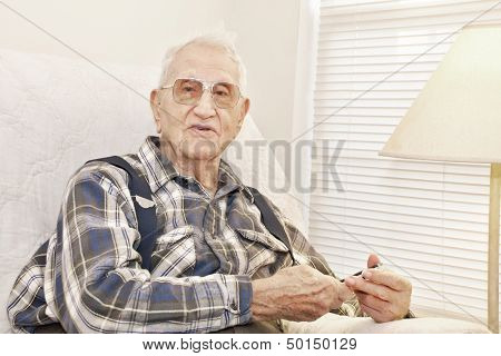 Elderly Man Holding Cell Phone