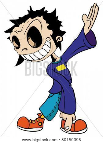 cartoon illustration of a weird looking eyeless kid pointing with his finger