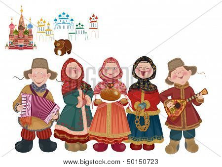 Cartoon people in traditional costume with musical instruments (balalaika and accordion) are welcome guests with a centuries-old Russian tradition - bread and salt.