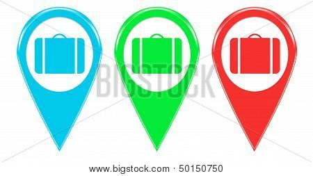 Set of icons with suitcase symbol