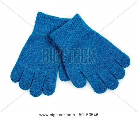 Winter Blue Knit Gloves isolated on white background.
