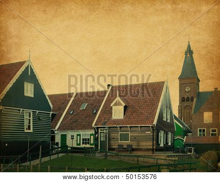 wooden houses in traditional style, Marken, Netherlands.