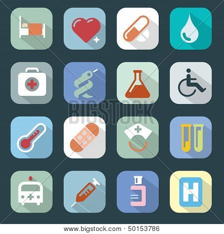 Medicine Web Colour Icons Set