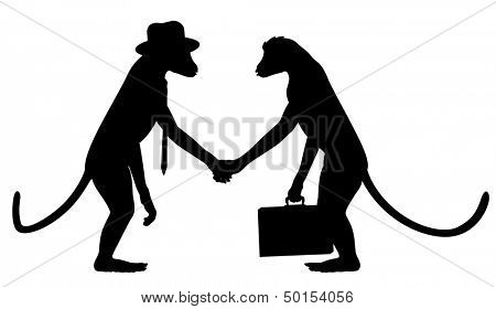 Editable vector silhouettes of two monkeys shaking hands with all elements as separate objects