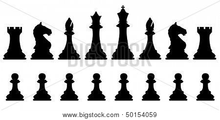 Editable vector silhouettes of a set of standard chess pieces