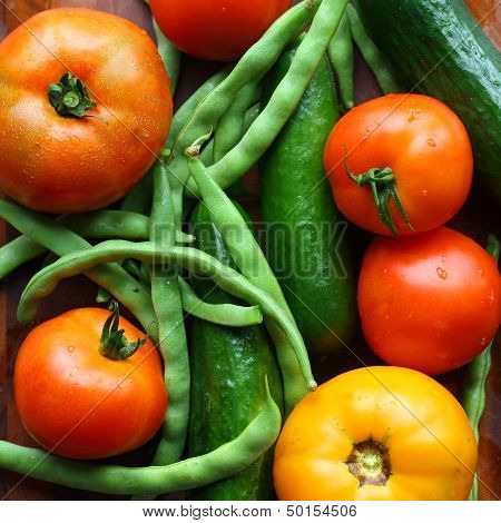Tomatoes, Cucumbers, And Green Beans