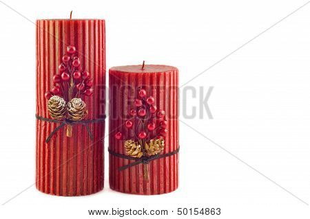Two Red Christmas Candles