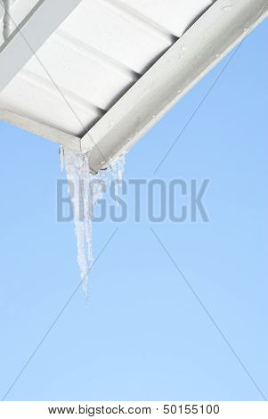 House Gutter With Icicles