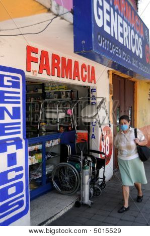 Pharmacy In Mexico With Masked Woman
