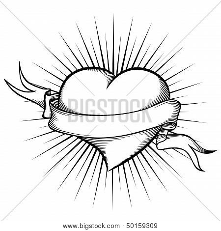 Heart With Ribbon In Tattoo Style. Vector