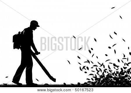 Illustrated silhouette of a man using a leaf-blower to clear leaves