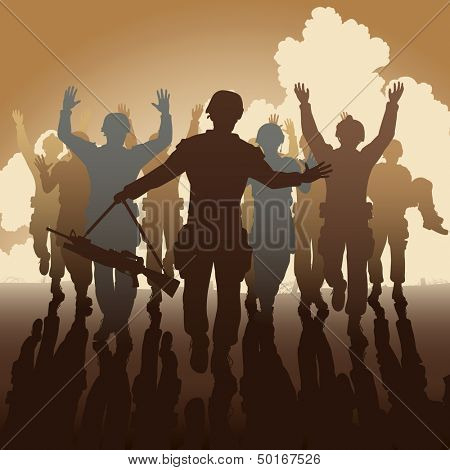 Illustration of a troop of defeated soldiers surrendering