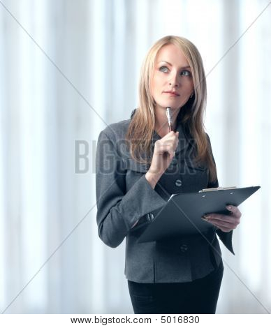 Woman With Clipboard And Pen, Isolated