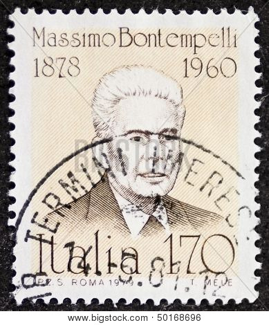 ITALY - CIRCA 1979: stamp printed in Italy shows Massimo Bontempelli (1878 - 1960), Italian journalist, writer, essayist who promoted the literary style known as Magical Realism. Italy, circa 1979