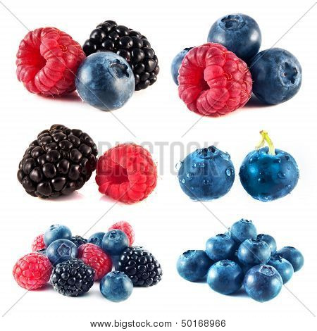 Blueberry, raspberry, blackberry set isolated