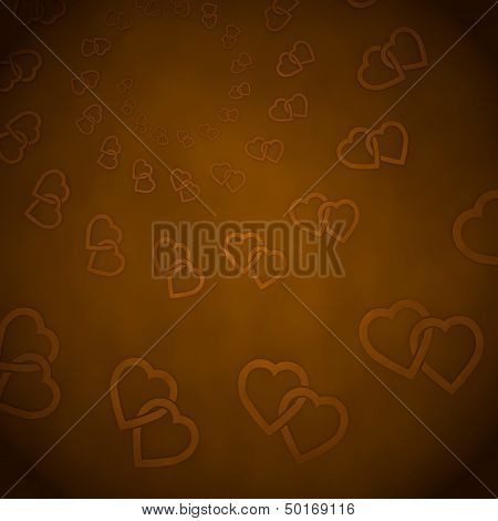 3D Render Of A Coltish Two Hearts Label  On Vintage Background