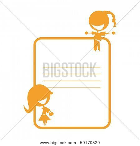 silhouettes of two cute girls on a schoolbook sticker