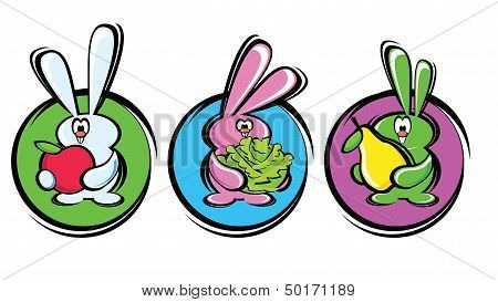 rabbits with healthy food