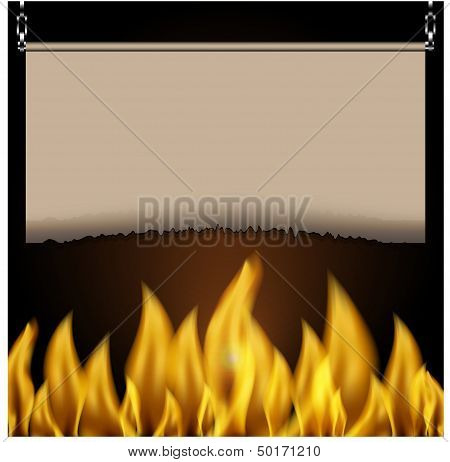 Scorched Sheet Of Paper And Fire