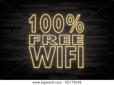 100 Percent Free Wifi Sign On Classy Stone Wall
