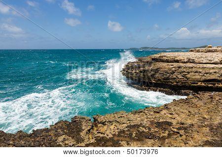 Devil's Bridge Antigua Waves Crashing On Coastline