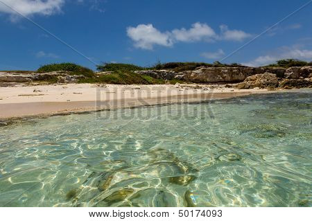 Idyllic Rustic Tropical Caribbean Beach Antigua