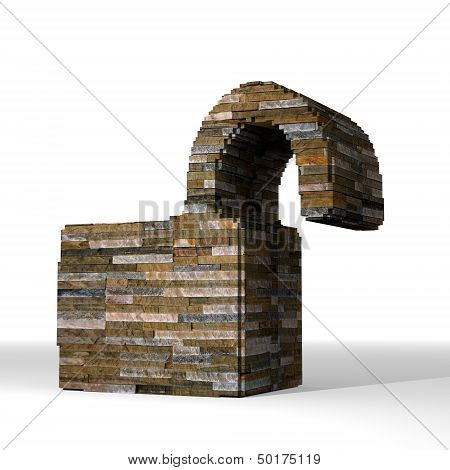 3D Render Of A Isolated Unsafe Sign  Built Out Of Stones