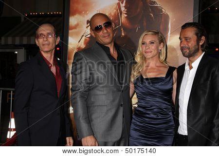 LOS ANGELES - AUG 28:  David Twohy, Vin Diesel, Katee Sackhoff, Jordi Molla at the