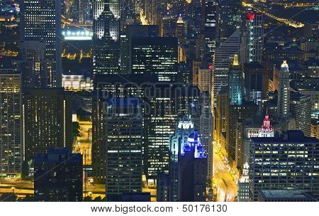 Night Life Chicago Skyline