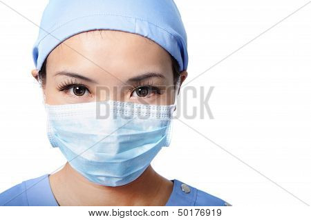 Portrait Of Serious Woman Doctor Face