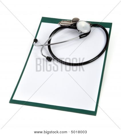 Blank Clipboard With Stethoscope On White