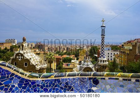 Barcelona Cityscape with wall