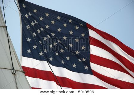 United States Flag With Ship Sail