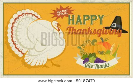 Thanksgiving Poster, with white turkey, pilgrim hat and autumn abundance, including pumpkins, grapes and corn