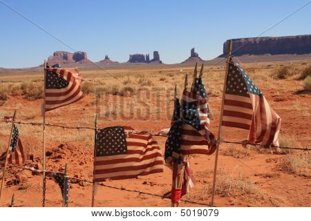 Monument Valley And American Flags