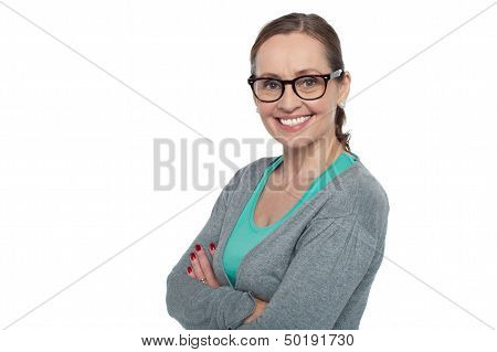 Trendy Bespectacled Woman Dressed In Casuals