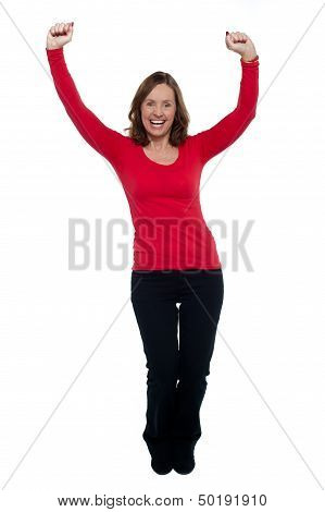 Jubilant Lady Celebrating Her Success