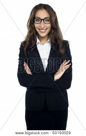 Bespectacled Smiling Businesswoman Portrait Isolated