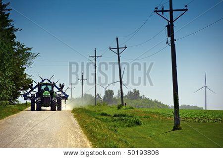 Farmer On Suburb Road