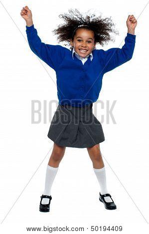 Pretty African School Girl Dances In Full Swing