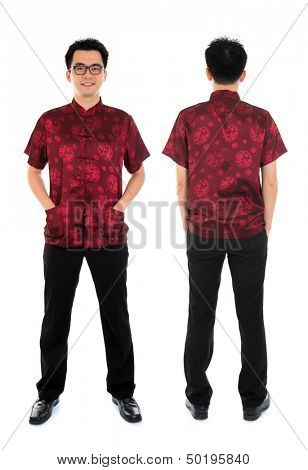 Full body front and back view Asian man with Chinese traditional cheongsam or tang suit. Chinese New Year concept. Male model isolated on white background.